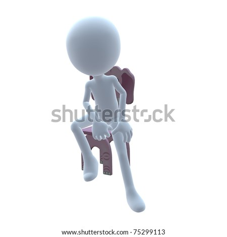 3D guy with a elephant chair on a white background
