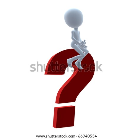 3D guy with a question mark on a white background