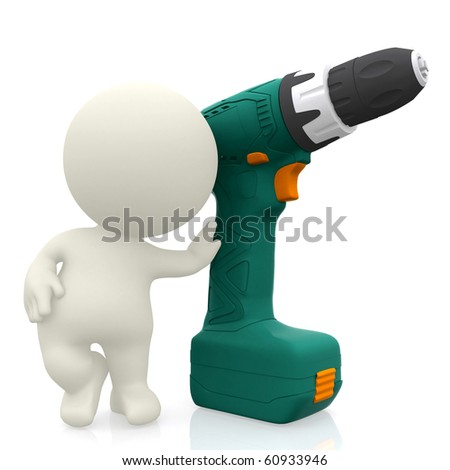 3D guy with a screwdriver - isolated over a white background