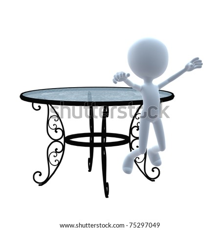 3D guy with patio furniture on a white background