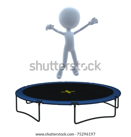 3D guy with trampoline on a white background