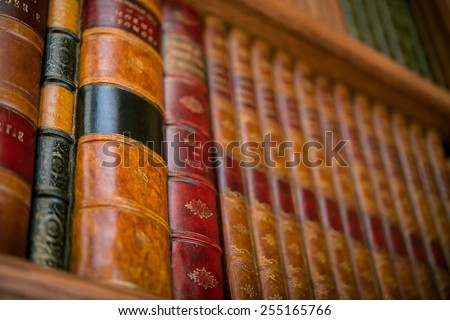 3d gypsum board in the form of historical books in the closet - stock photo