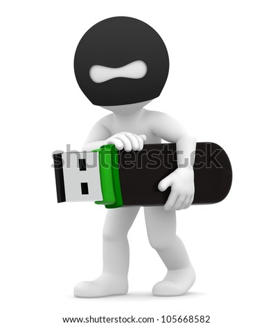 3d hacker stealing USB flash drive. Isolated - stock photo