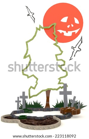 3D Halloween background decoration in haunting graveyard with Jack-o-lanterm moon - stock photo