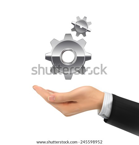 3d hand holding gear symbol over white background - stock photo