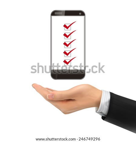 3d hand holding smartphone over white background