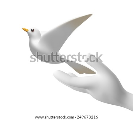 3D hands released a white dove into concept for freedom sings and symbols, side view isolated - stock photo