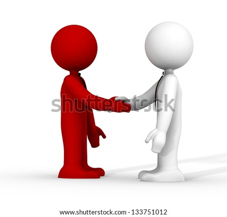 3d handshake red and white