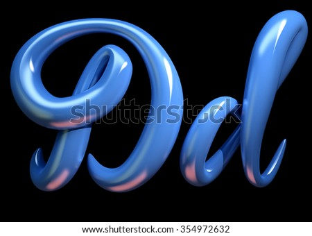 3d handwritten blue plastic alphabet  isolated on black background. Handmade calligraphy uppercase and lowercase letters D - stock photo