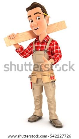 3d handyman carrying wooden plank on shoulder, illustration with isolated white background