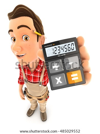 3d handyman holding calculator, illustration with isolated white background