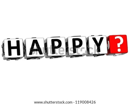 3D Happy Button Click Here Block Text over white background - stock photo