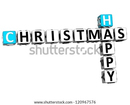 3D Happy Christmas Crossword on white background