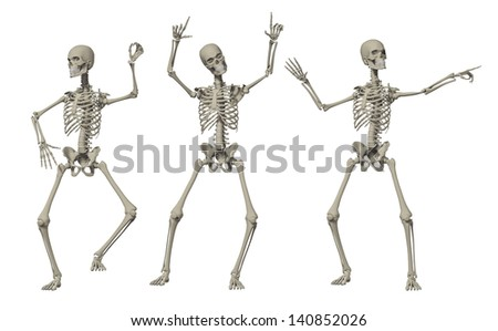 3D Happy Dancing Skeleton for Holloween - stock photo