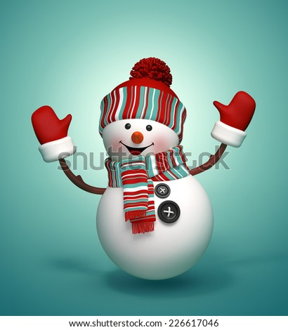 3d happy jumping snowman, festive isolated illustration, winter Christmas greeting card - stock photo