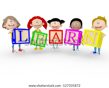 3D happy kids making the word learn with ABC cubes - isolated over white - stock photo