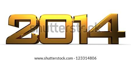 3D happy new year golden 2014 - stock photo