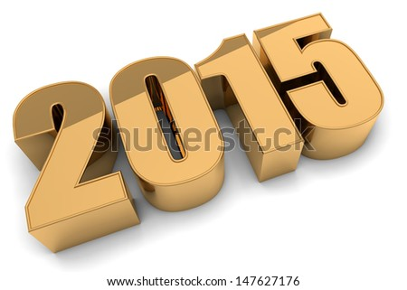 3D happy new year golden 2015 - stock photo