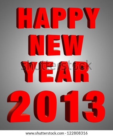 3d happy new year 2013 message on the white background - stock photo
