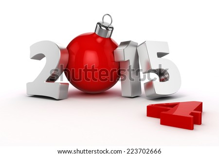 3d happy new year 2015, text on white background - stock photo