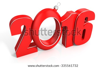 3d happy new year 2016 text on white background