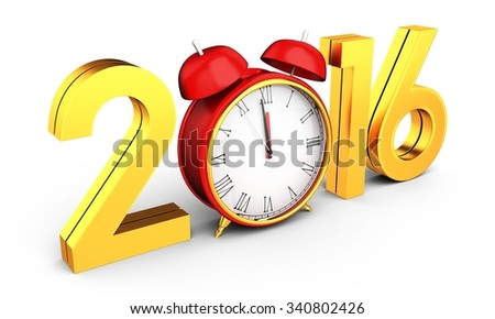 3d happy new year 2016 with clock on white background