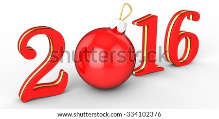 3d happy new year 2016 with globe on white background