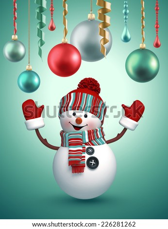 3d happy snowman celebrating Christmas, holiday background - stock photo