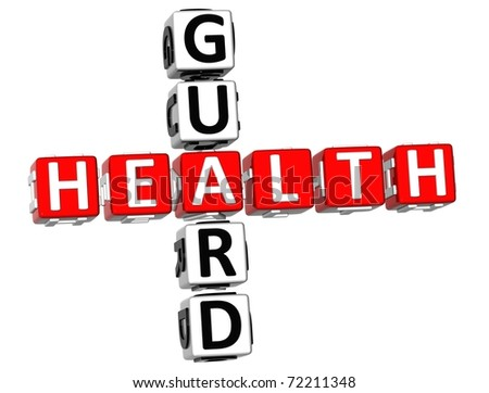3D Health Guard Crossword on white background - stock photo