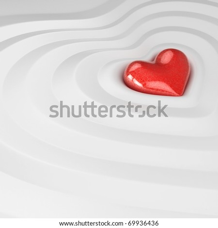 3d heart concept wave of valentine's day isolated on white