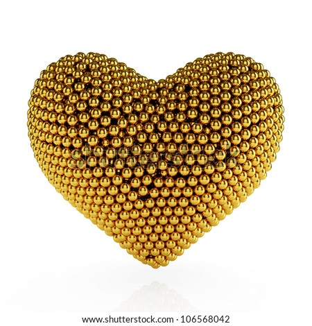 3d heart from the golden spheres on white background
