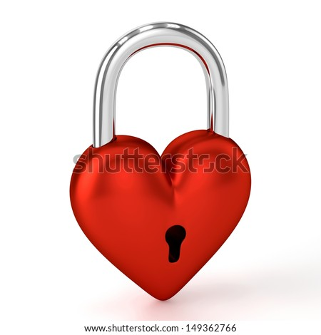 3D Heart Padlock - stock photo
