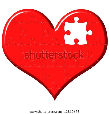 3d heart puzzle with missing piece