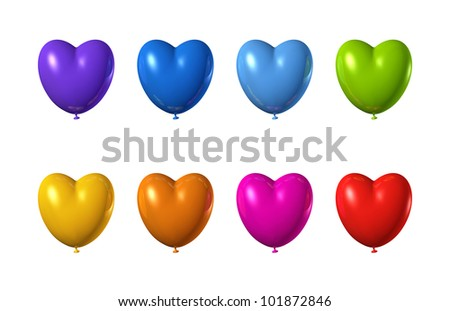 3D heart shape balloons set isolated on white