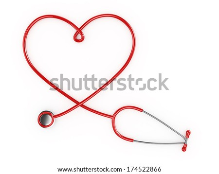 3d Heart Shaped Stethescope - isolated - stock photo