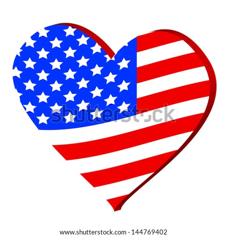 3d heart symbol with the flag of america