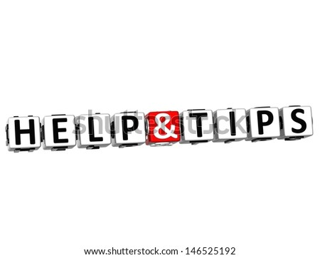 3D Help And Tips Button Click Here Block Text over white background - stock photo