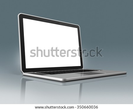 3D High Tech laptop - isolated on a grey background with clipping path - stock photo