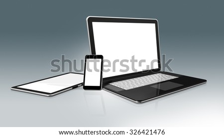 3D High Tech laptop, mobile phone and digital tablet pc - isolated with clipping path - stock photo