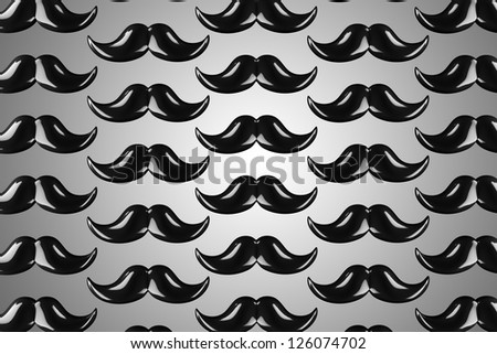 3d  hipster mustache - stock photo