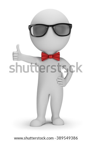 3D Hipster - Positive Pose. 3d image. White background.