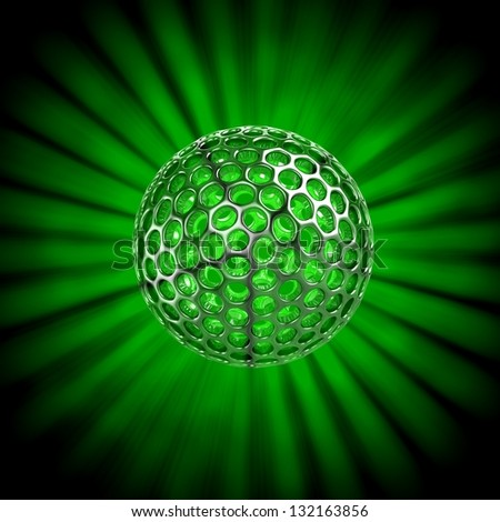 3D hollow ball isolated with glow rays