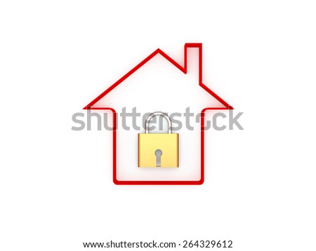 3d Home with Lock - stock photo