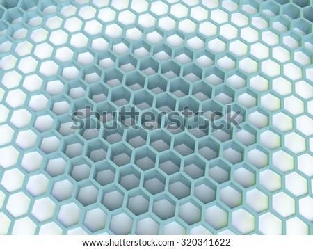 3d honeycomb cells pattern render  - stock photo