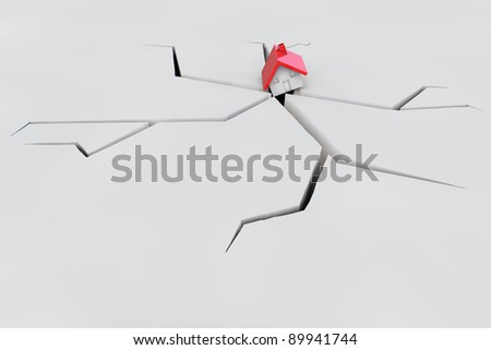 3D House after earthquake falling in crack in the ground - stock photo