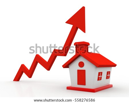 3d house and arrow graph. Growth in real estate