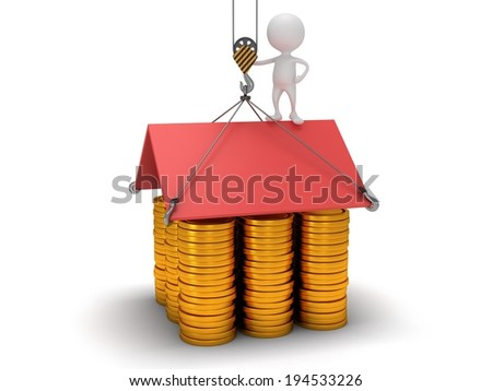 3D house build with gold coins. Business, assembling, real estate concept. - stock photo