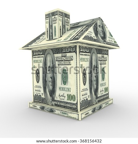 3d house from the money dollars. Business concept - stock photo