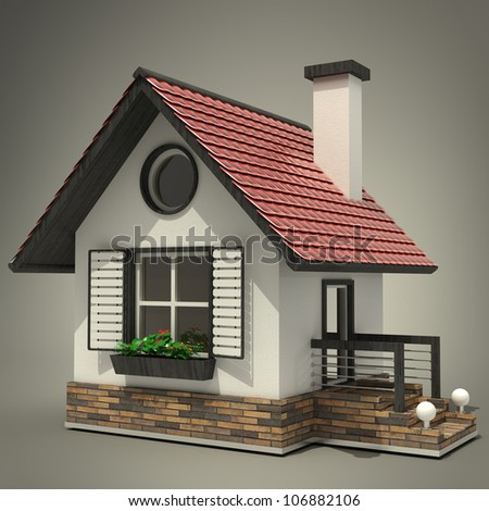 3d house  High resolution - stock photo
