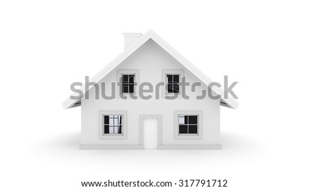 3D House isolated on white background. Front view - stock photo